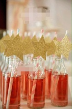 Free shipping 15pcs/lot gold star pink paper drinking straws drinking Tubes wedding Party Decorations custom shining Eco straws