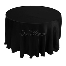 "6Pcs/lot 120""  Satin Table Cover White Black Round Tablecloth for Banquet Wedding Party Decoration"