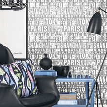 beibehang papel de parede Korean black English letters wallpaper living room restaurant coffee shop bar clothing shop wallpaper