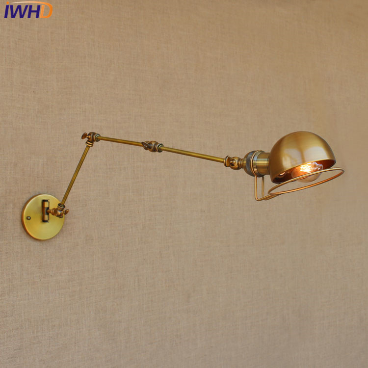 Loft Retro industrial Iron wall lamp LED with edison bulb E27 Long Arm Wall  lights for cafe hallway bedroom living room bar cafe - us730 952c3cfd7be