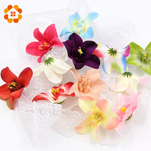 10pcs/lot 7cm Silk Orchid Artificial Flower Head For Wedding Decoration DIY Wreath Gift Scrapbooking Craft Fake Flowers