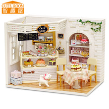 Assemble DIY Doll House Toy Wooden Miniatura Doll Houses Miniature Dollhouse toys With Furniture LED Lights Birthday Gift h014(China)