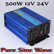 500W Solar Wind Inverter 12V 24V DC to AC 220V 110V with 1000W Surge Power, 500W Off Grid Power Inverter Pure Sine Wave Output(China)