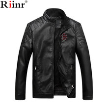 Riinr 2017 Fashion New Arrival Men's Leather Jacket Motorcycle Brand Casual Coats Mens High Quality Outwear Male Leather Jacket(China)