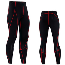 2017 Men Compression Pants Solid Spliced Skinny Leggings Tights Fitness Joggers Elastic Bodybuilding Sweatpants Trousers MMA(China)