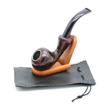 1 Pc EKJ New Arrival Smoking Wooden Pipe Hand Carved Beatifull Style with Gift Box Pipe Stand Include Resin Tobacco Herb Pipe