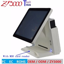 new stock I5 4200 15 inch capacitive touch Screen all in one POS Terminal With MSR card reader and VFD customer display(China)