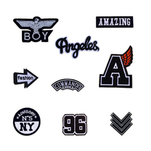 New Black White Patches Angeles Amazing NY BOY Patch Iron On Or Sew Fabric Sticker For Clothes Badge Embroidered Appliques DIY