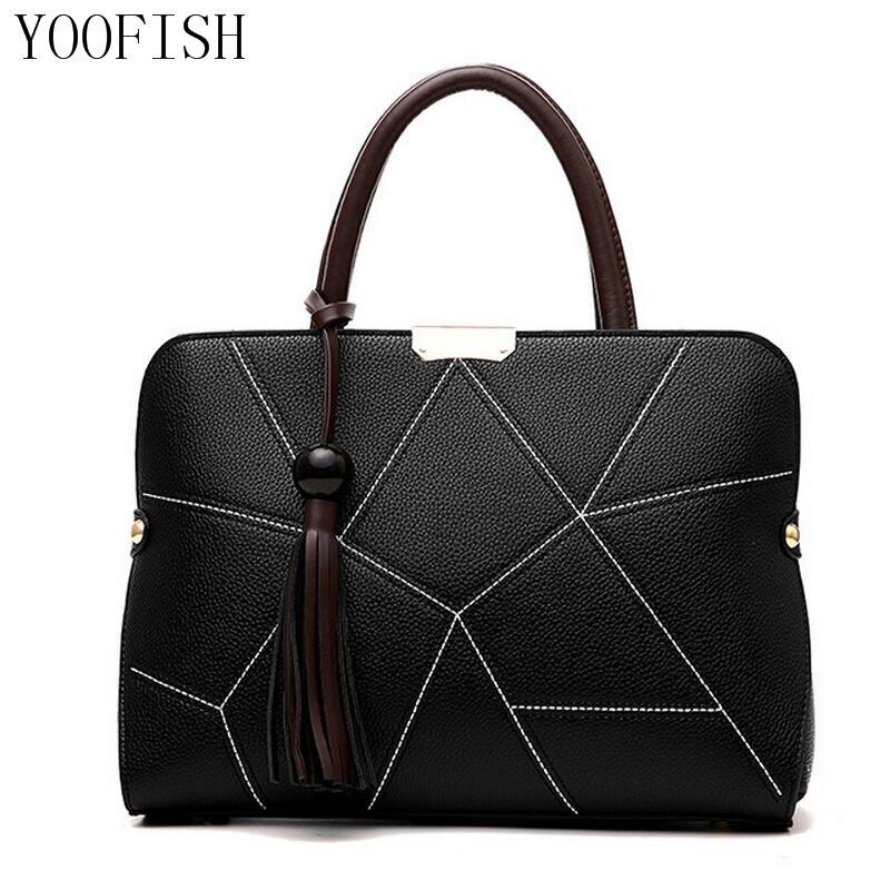 YOOFISH   New Arrival 2017 Women Fashion Handbags Pu Leather Shoulder Lady Bags Messenger Big Leisure Handbag for Women<br>