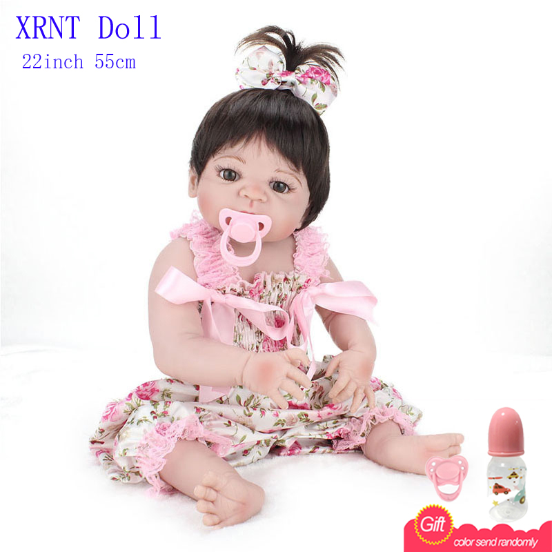 22 Inch Doll Reborn With Flower Dress Baby Alive Doll Baby Reborn With Silicone Body Fashion Doll Interactive Dolls<br><br>Aliexpress