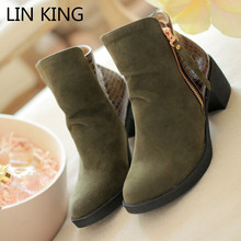 LIN KING Vintage Square Heel Women Boots Fashion Suede Leather Ankle Boots Zipper Medium Heel Warm Winter Short Shoes Plus Size