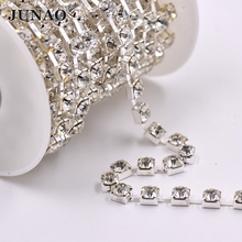 JUNAO SS28 Clear Glass Rhinestone Cup Chain Beads Trim Bridal Applique Crystal Strass Banding For DIY Jewelry Clothes Crafts
