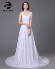 Vestidos De Noiva Stock White/Ivory Sweetheart Lace A-line Chiffon Wedding Dresses Robe De Mariage Pleats Open Back Bridal Gowns(China)