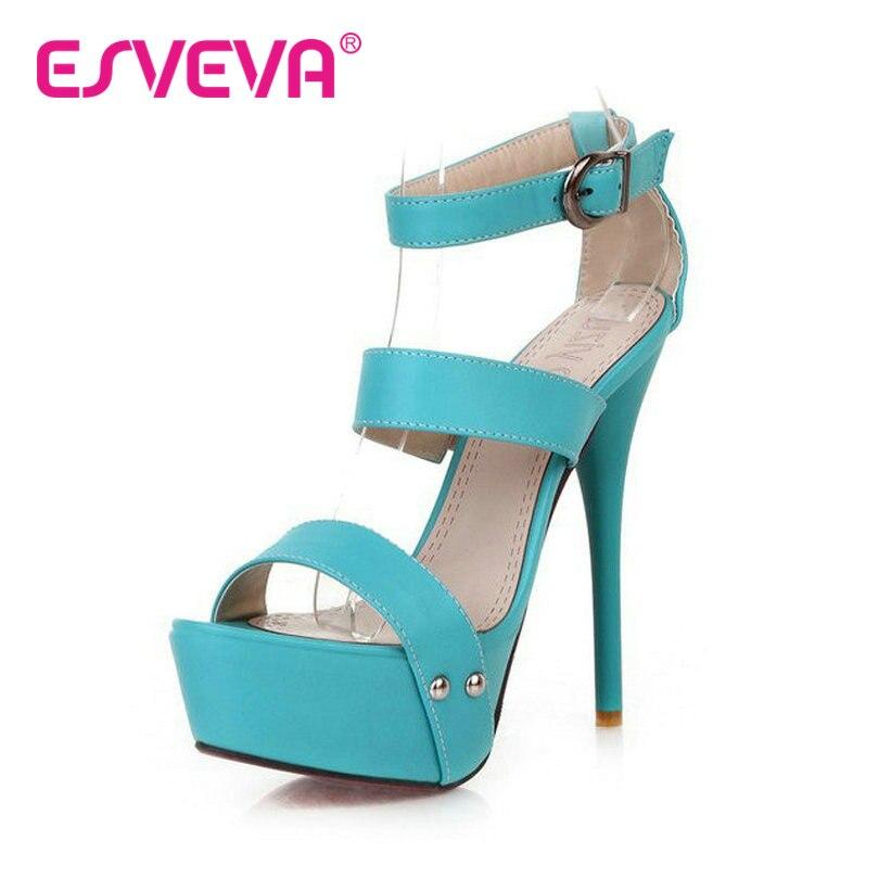 ESVEVA Blue Summer Women peep toe wedding shoes 13.5 CM Thin high heel women sandals Platform shoes women buckle strap sandals<br><br>Aliexpress