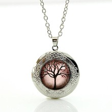Life tree locket necklace cartoon tree jewelry Wholesale Charms Tree of Life art glass cabochon pendant for men women gifts N235