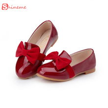 New arrival spring autumn winter big bowknot patent leather kids sandal children causal shoes flat shoes for girls gifts(China)