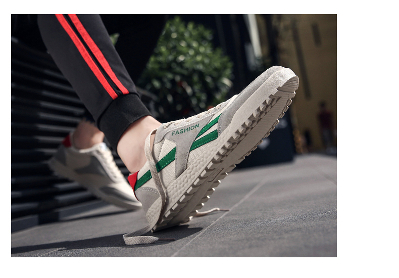 New Fashion Casual Flat Vulcanize Shoes For Men Breathable Lace-up Shoes Footwear Striped Shoes Flax And Cattle Cross Stitching 20 Online shopping Bangladesh