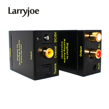 Larryjoe Black Digital Optical Coax Coaxial Toslink to Analog RCA Audio Converter with 3.5mm Jack Port(China)