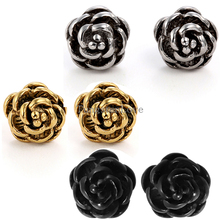 2015 Fashion 2pcs of Charm Women's Stainless Steel Rose Flower Post Stud Earrings in Gift Bag 3 colors selection