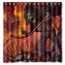 Hot Custom Fashion Bath Products /Waterproof Iron Maiden Skull Print Bathroom Curtains/ Decor Shower Curtain 180*180cm(China)