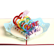 10pcs/lot Laser Cut Invitations 3D Pop UP Card Greeting Cards Mother's Day Gift Card