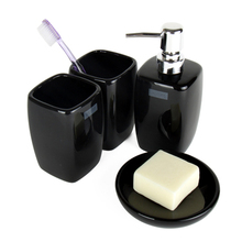 Brief style ceramic bathroom set  4 pieces set  bathroom supplies smooth outline cuboid shape white beige black colors