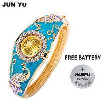 JUNYU Peacock WristWatch 2017 18K Gold Women Luxury Quartz Watches Synthetic Ruby Paint Bead Crystal Rhinestone(China)