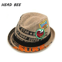 [HEAD BEE] 2017 Trend Children Linen Sun Hat Summer Hats Linen For Boys Kid Casual Letter Floppy Beach Cap 4 Colors(China)
