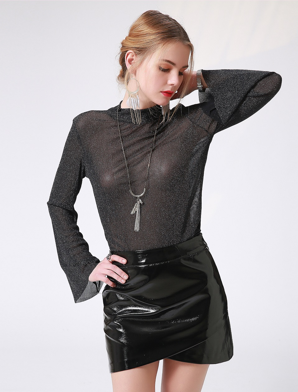 Autumn Winter Women Sexy Mini Skirt Black faux Patent Leather Female Short Pencil Skirt Zipper Fashion Streetwear Skirts Talever 4