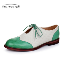 Genuine leather woman size 9 designer yinzo vintage flat shoes round toe handmade black green yellow oxford shoes for women 2017(China)