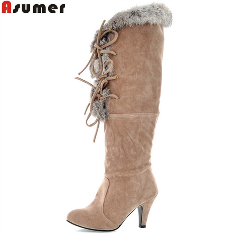 Asumer 2017 hot sale new arrive women boots fashion lace up flock knee high boots solid color high heels winter boots<br>