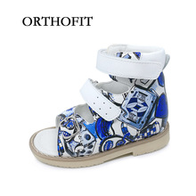 Newest Flower Printing Leather Sandals Children Orthopedic Shoes PU Leather Sandals Boys Kids(China)