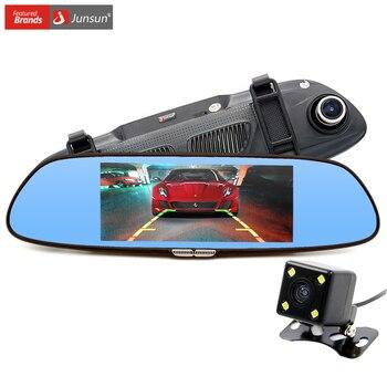 Junsun nueva cámara del coche de 6.5 pulgadas del coche dvr de doble lente de espejo retrovisor hd 720 p grabador de vídeo digital videocámara registrator dashcam