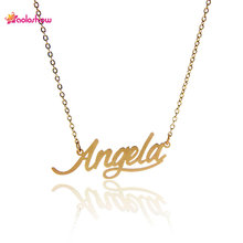 "AOLOSHOW Fashion Women Initials Gold color Script Nameplate Necklace "" Angela "" Stainless Steel Pendant Name Necklace ,NL-2397"