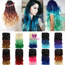 "20"" 16Clips Ombre Rainbow Clip in on Hair Extensions Three Colors Tone Black Blue Bunte Synthetic Hairpiece Extension False Hair"