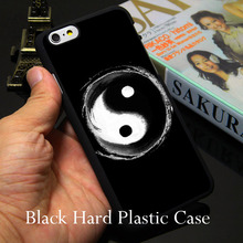 China yin yang Black Phone Case for iPhone 5S 5 SE 5C 4 4S 6 6S 7 Plus Cover ( TPU / Hard Plastic for Choice  )