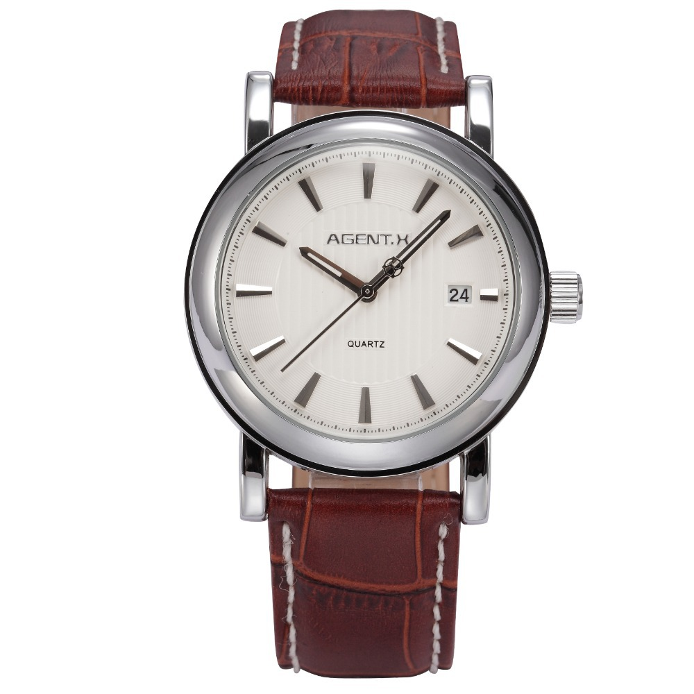AGENTX Brand Day White Dial Silver Stainless Steel Case Leather Strap Male Quartz Wristwatch Men Business Watch / AGX021<br>