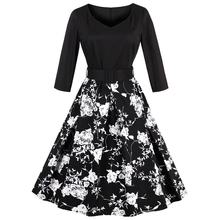 ZAFUL Plus Size Belts Vintage Dress 3/4 Sleeved Black Floral Print Women Retro Dress Vestidos Robe Femme 60s Swing Party Dresses(China)