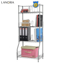 LANGRIA 4-Tier Wire Bookshelf Rack Storage Organization Rack Shelving Unit Book Rack Storage Holders For Home Decoration-Silver