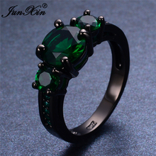 JUNXIN Male Female Round Green Ring Hot Sell Black Gold Filled Jewelry Vintage Wedding Rings For Men And Women Bijoux