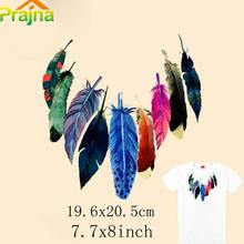 Prajna Feather Patch Leaf Fashion Diy Iron On Patches Brand Patch Logo Cheap Stickers Hippie Boho Retro Motif Accessories(China)