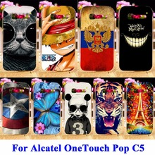 AKABEILA Soft TPU Hard PC Cell Phone Cases For Alcatel OneTouch Pop C5 5036 Cover Skin Panda Tiger Cat Shell Hood Back Bags Case(China)