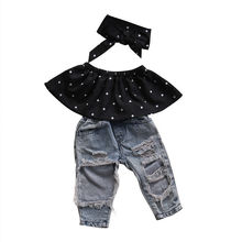 3PCS Set Fashion Children Girls Clothes 2017 Summer Off shoulder Polka Dot Tank Tops+Hole Jean Denim Pant Headband Kid Clothing