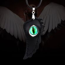 Leather Necklace Free Shipping New Arrival Men Women Jewelry Feather Crystal Cube Gyps Evil Eye Black Angel Wing Leather Pendant