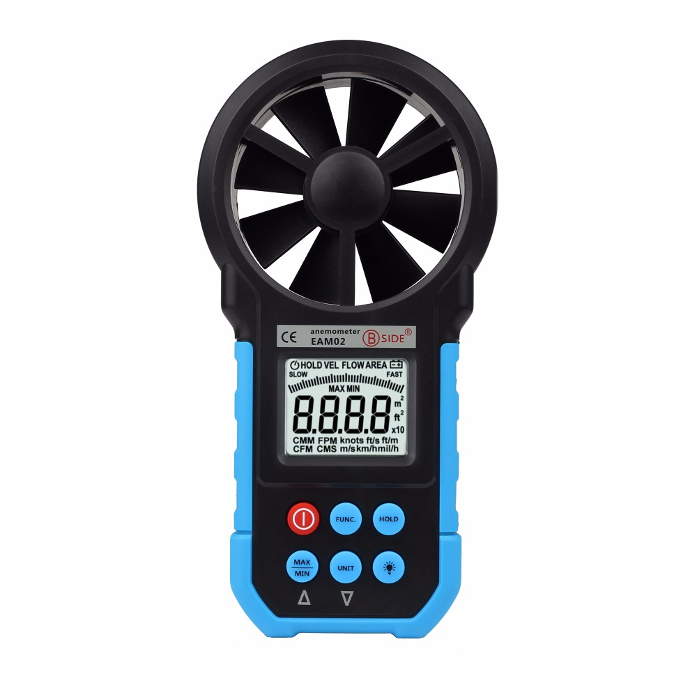 BSIDE EAM02 Digital Anemometer Air Velocity/Volume/Wind Speed/Area Meter Gauge Tester with LCD Backlight<br>