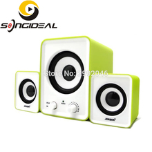 SONGIDEAL Bass 2.1 PC Speakers with Dual Subwoofers, Multimedia Speakers For PC Computers MP3/4 Music Players Gaming Green White(China)