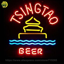 Neon Sign Tsingtao Beer Light Neon Bulb Sign Handcrafted Beer Bar Drink Decorate Room Windows Neon Light Sign Advertise Art Lamp(China)