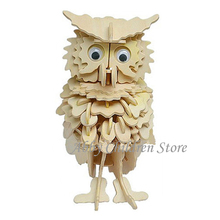 3D Puzzles Owl Model Wooden Puzzles Learning Animal DIY Toy Woodcraft Handmade Toy Educationa Toys For Children Adult(China)