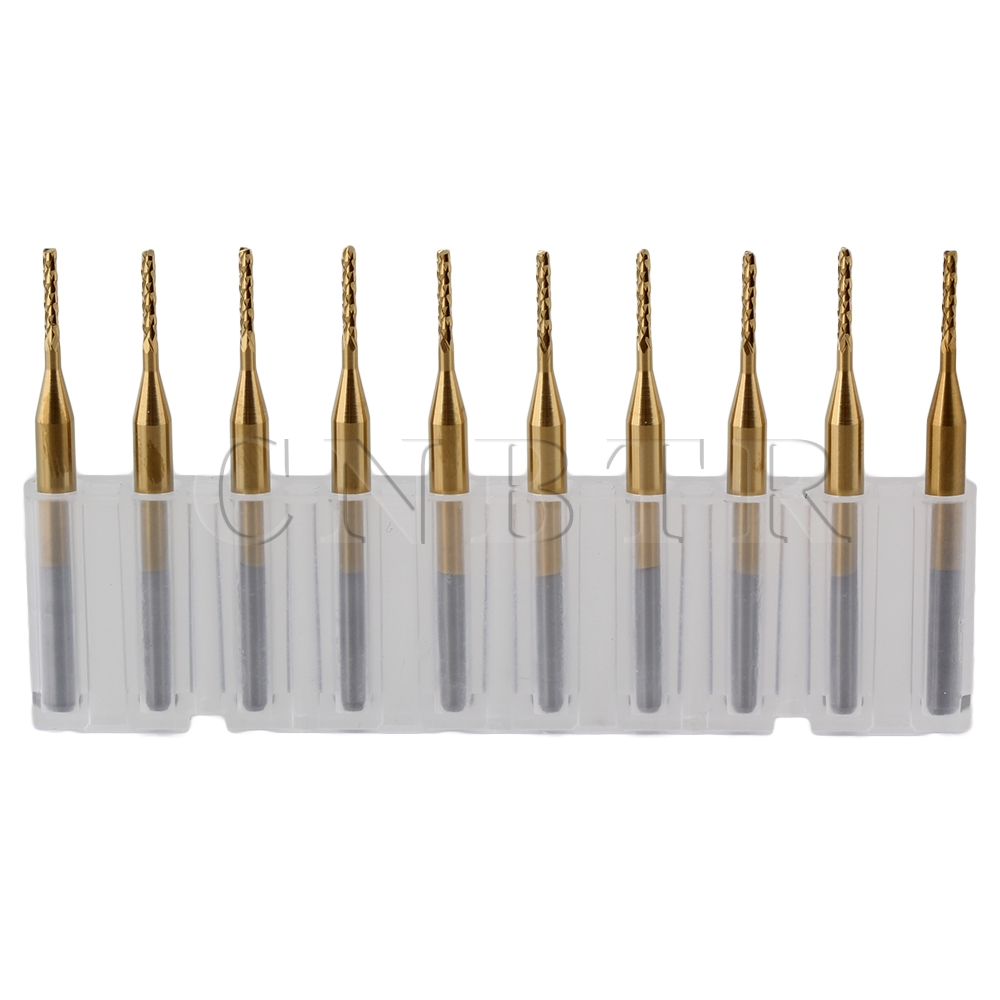 CNBTR 10pcs 1.2mm Titanium Coated Carbide End Mill Engraving Bits for PCB Rotary Burrs<br><br>Aliexpress