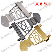 NEW 6 Sets Hollow Semi Hollow Jazz Guitar Trapeze Short 6 String Archtop Tailpiece Bridge  - Chrome - Black - Gold